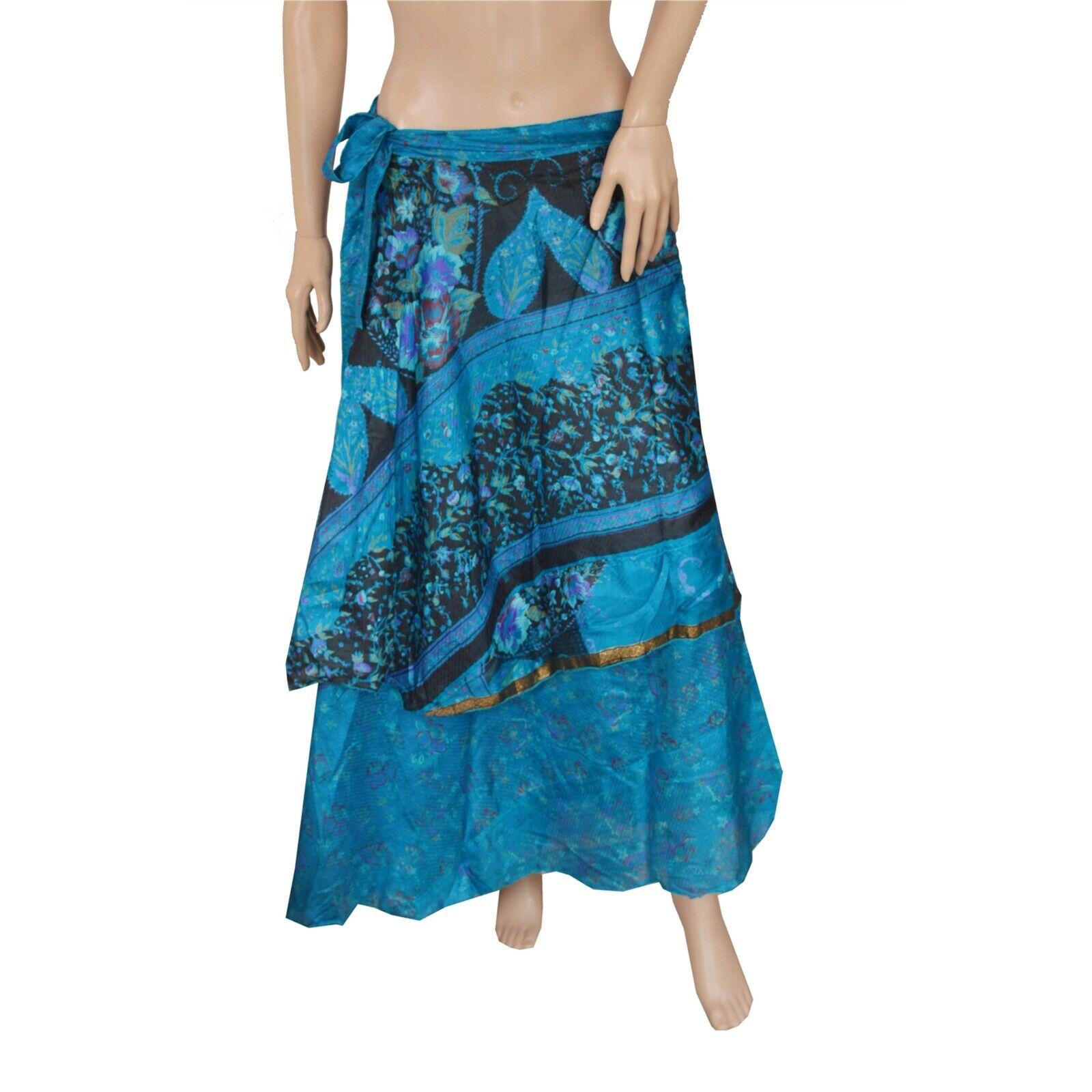 Sanskriti New Pure Silk Fabric Women Wraparound Long Skirt Floral Printed bluee