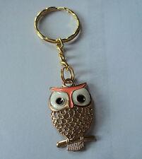 POPULAR OWL GOLD TONE AND ORANGE ENAMEL  KEY RING,FREE POST IN OZ!