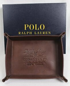POLO RALPH LAUREN Coin Key Trinket Tray Brown Leather NWT NIB
