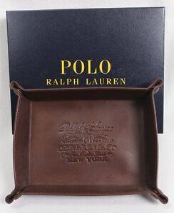 POLO RALPH LAUREN Coin Key Trinket Tray Brown Leather NWT NIB $125