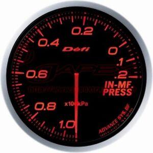 DEFI ADVANCE BF Intake manifold Pressure Gauge Amber Red Face 60mm DF10102