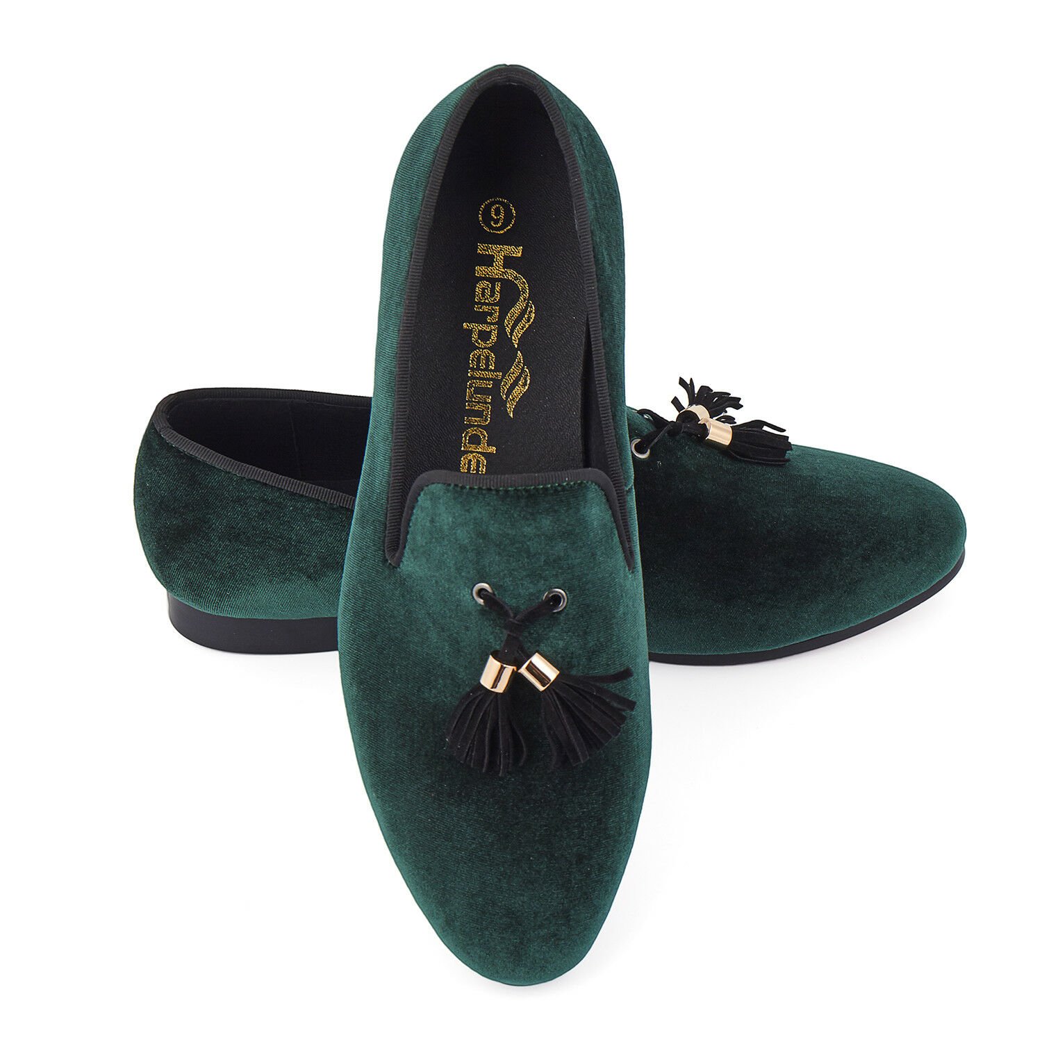Harpelunde Men Wedding Shoes Green Velvet Loafer Slippers With Tassel Size 6-14