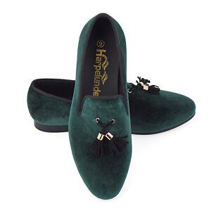 Harpelunde-Men-Wedding-Shoes-Green-Velvet-Loafer-Slippers-With-Tassel-Size-6-14