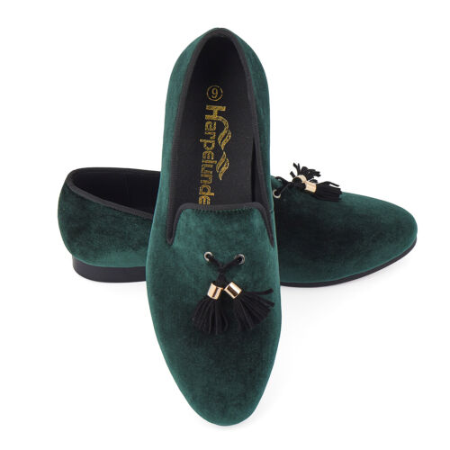 Harpelunde Men Wedding Shoes Green Velvet Loafer Slippers With Tassel Size 6-14
