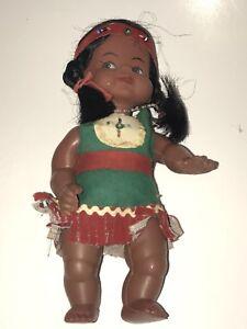 Reliable Vintage 20.3cm Plastica Vinile Con Perline Bambino Indiano Girl Bambola Nativi Giocattoli E Modellismo