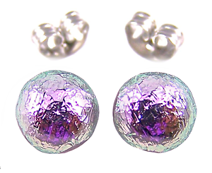 Tiny-DICHROIC-Post-EARRINGS-1-4-034-7mm-Pastel-Rose-Metallic-PINK-Fused-GLASS-STUD
