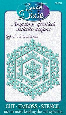 SWEET DIXIE Dies SET OF 3 SNOWFLAKES Cut Emboss Stencil SDD011 Sue Dix Christmas