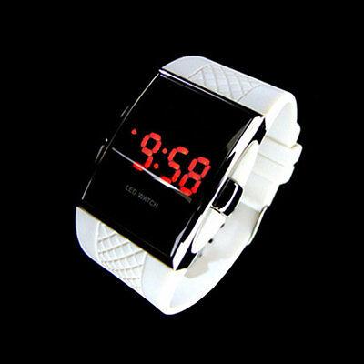 Women Fashion LED Luxury Date Digital Sports Quartz Silicone Wrist Watch White