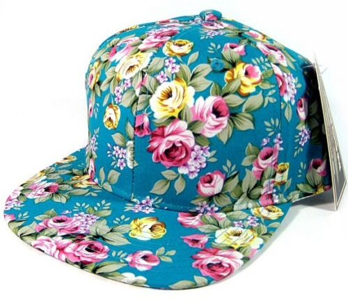 HAWAIIAN PRINT SNAPBACK HAT CAP FLAT BILL FLORAL HAWAII FRESH PRINCE TEAL BLUE