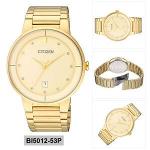 Details About Citizen Quartz Mens Analog Business Gold Band Bi5012 53p