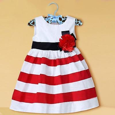 Kids Baby Casual Sleeveless Stripes Dress Toddler Girl Floral Sundress Skirt E24