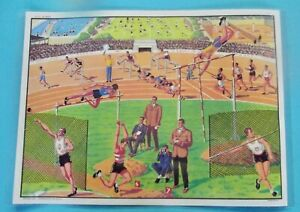 Decoration-Murale-Set-de-Table-Athletisme-course-poids-saut-javelot-natation