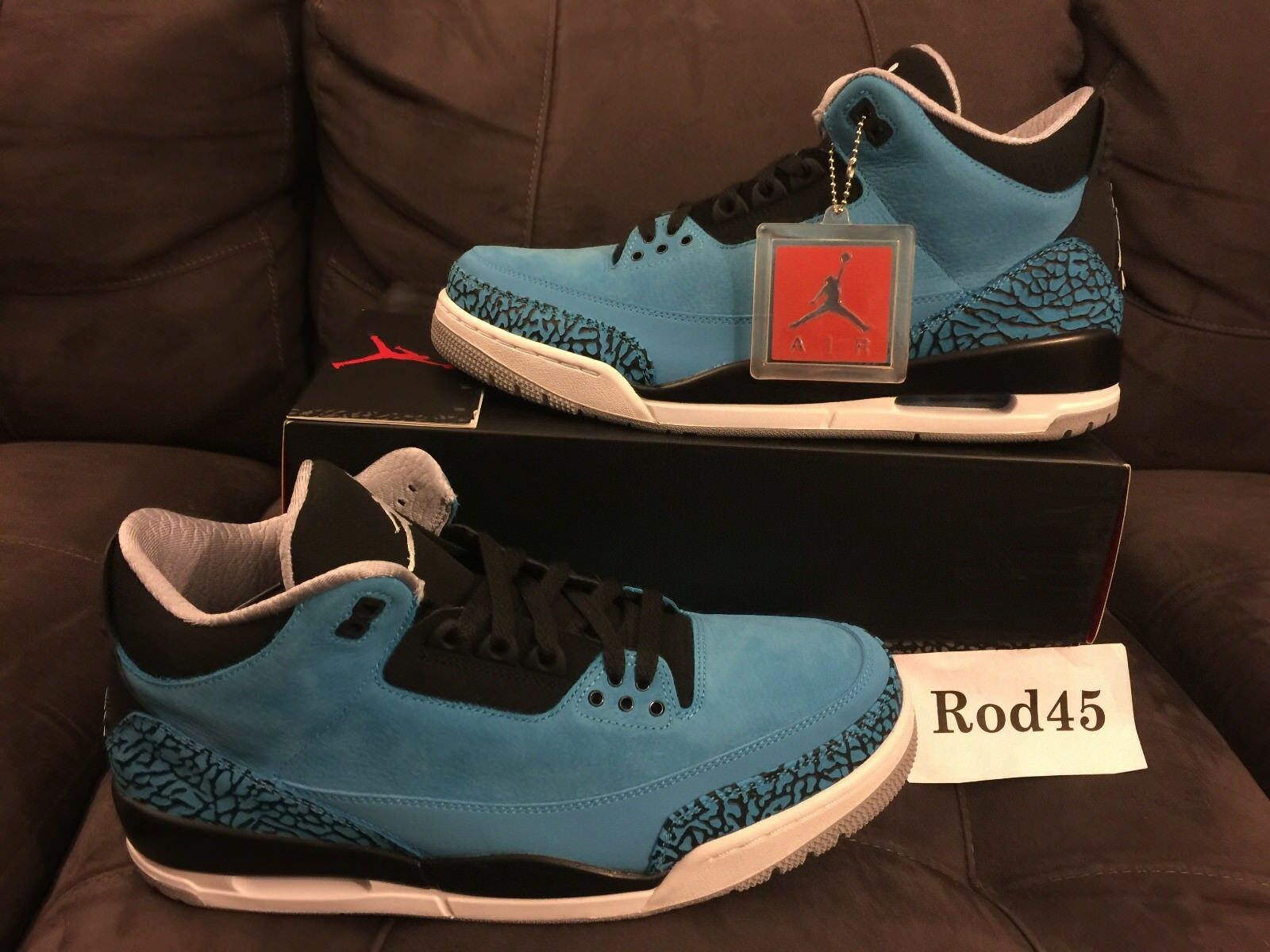9a79e9790e2d Nike Air Jordan 3 III Grey Retro Powder Blue White Black Grey III 12 DS  4935dd