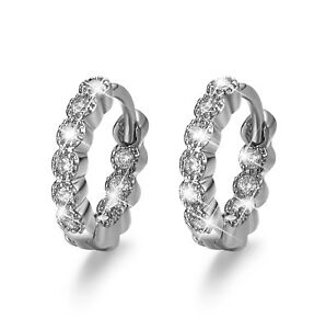 AEIWO 18k white gold gf made with SWAROVSKI crystal huggies earrings small 9353691003074