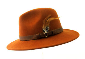 cd36ce4bbf5b1 Ranger 100% Wool Waterproof Rust Brown Felt Fedora Hat With Leather ...