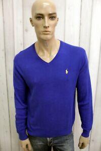 RALPH-LAUREN-Uomo-Taglia-M-Maglione-Blu-Cotone-Casual-Sweater-Manica-Lunga