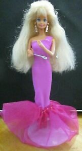 ORIGINAL-BARBIE-DOLL-LONG-CURLY-BLONDE-HAIR-LONG-PINK-DRESS-amp-HIGH-HEELS
