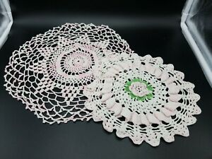 2 Vintage 1950's Hand Crochet Doilies Pink Rose / Pink Flower  Assorted Sizes