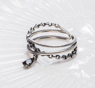 Ehrlichkeit F04 Ring Silber 925 Abstrakt Kette Schwarzer Zirkonia Kristall Größenverstellbar So Effektiv Wie Eine Fee