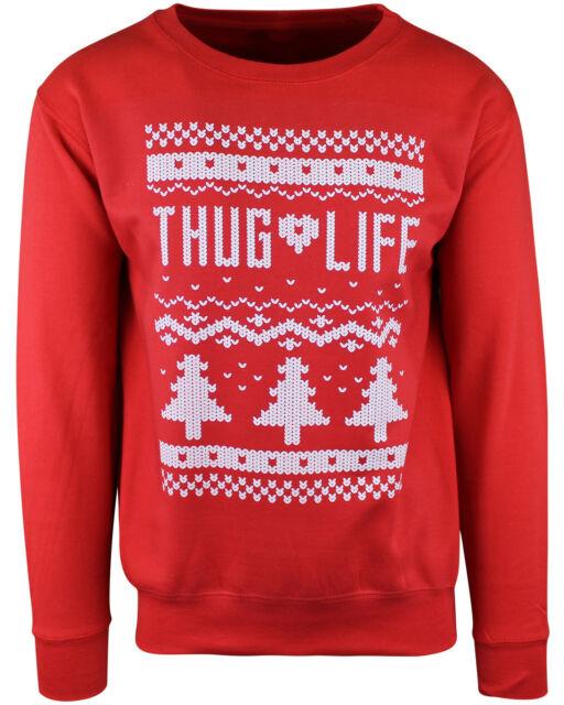 Ugly Christmas Sweater Funny.Shirtbanc Thug Life Ugly Xmas Sweater Funny Christmas Sweatshirt
