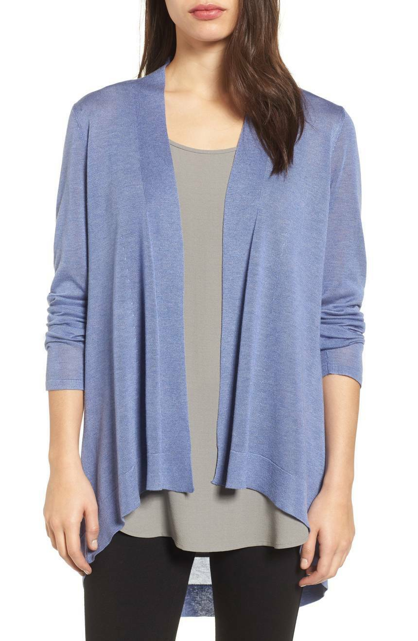 NEW EILEEN EILEEN EILEEN FISHER PERIWINKLE  SLEEK TENCEL MERINO KNIT  SHAPED  CARDIGAN  L  228 ef2d2f