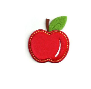 Red Apple Green Leaf  Embroidered Iron On Applique Patch Fruit Teacher