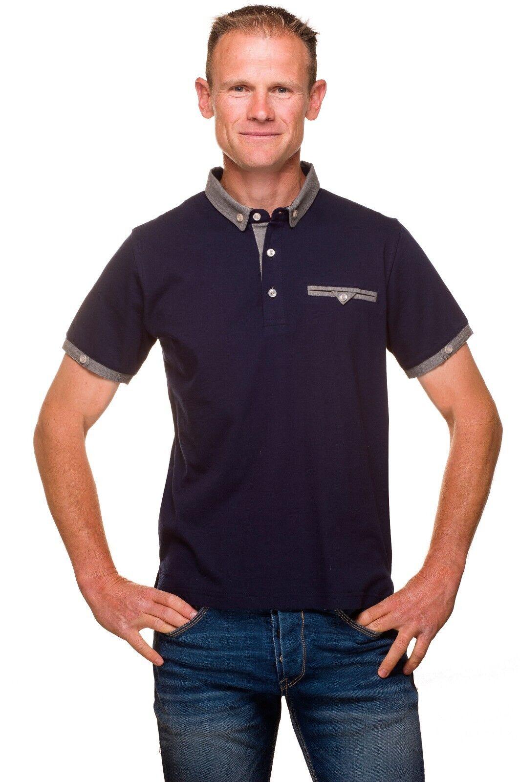 Ugholin Polo  Herren Cotone Jersey Blu Scuro Colletto Denim Maniche Corte