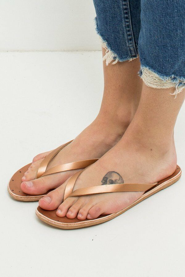 Beek Seabird or Leather Flip Flop Thong Sandals femmes Taille 8 New