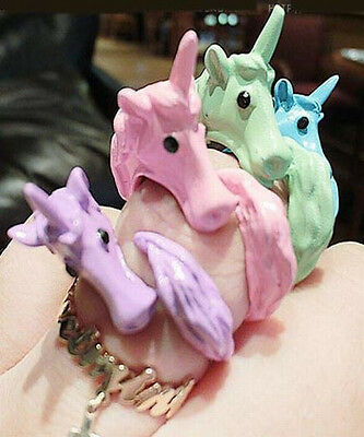 1pc Size 7 Korea Fashion Candy Color Horse Unicorn Animal Lady Ring 2 Color