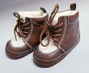 Toddler-Faux-amp-Fur-Brown-amp-Faux-Boys-Booties-Size-9-12M