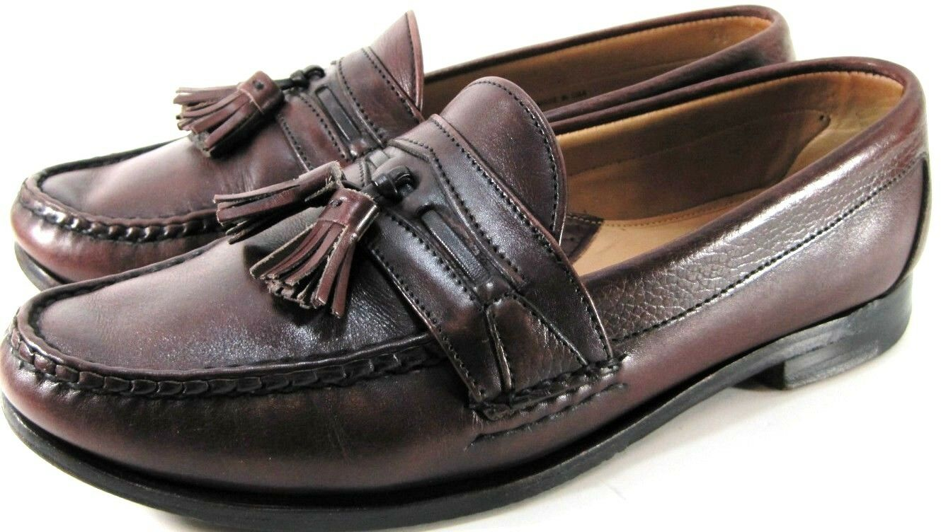 Foot Joy Men Loafers Size 9.5 D Brown Tassels Leather Lined Style 04522 Made USA