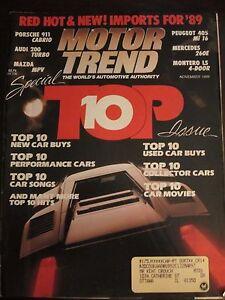 Motor Trend Magazine November 1988 Top 10 Porsche 911 Cabrio Audi 200 MPV C G O
