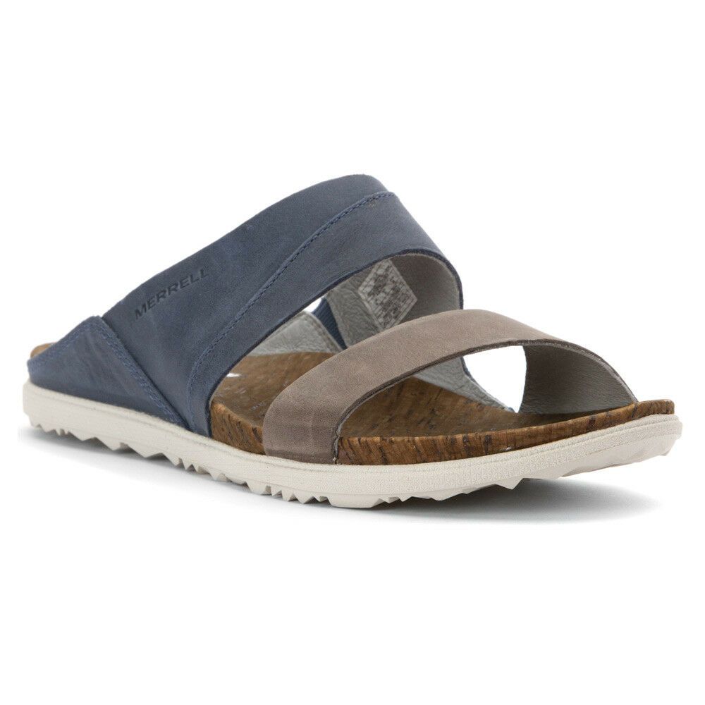 NIB Merrell Around Town Flat Slide Sandal Navy bluee Brown J55544 Women's Sz 10