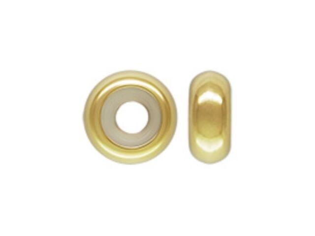 10pcs Gold Sterling Silver 7mm Rubber Stopper Beads fit 3mm European Bracelet