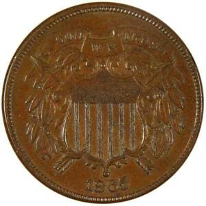 1865-2c-Two-Cent-Piece-US-Coin-AU-About-Uncirculated