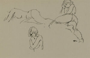 Peter Collins ARCA - c.1970s Pen and Ink Drawing, Female Study