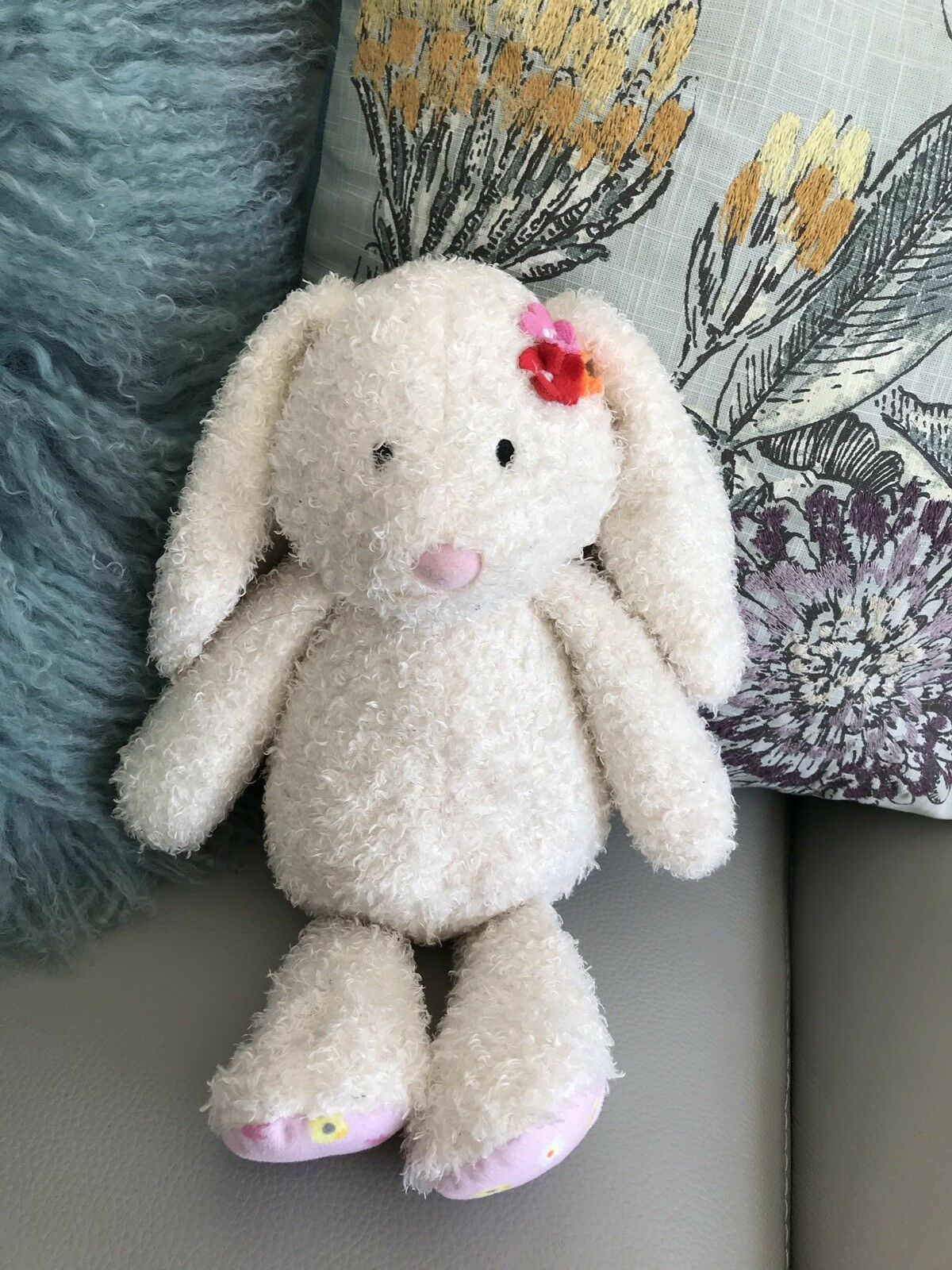 Tesco Bunny Rabbit Soft Toy Comforter lapin creamy white pink floral feet 13