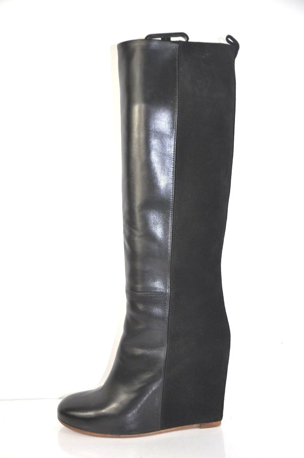Celine Phoebe Philo Collection Black Leather and Suede Wedge Boots Size 39