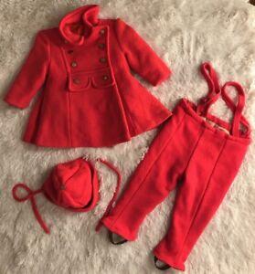 Vintage-Saks-Fifth-Avenue-60-70s-Pea-Coat-Stirrup-Pants-Cap-toddler-Lined-Wool