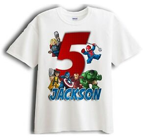 Image Is Loading Lego Avengers Superheroes Personalized Birthday T Shirt Party