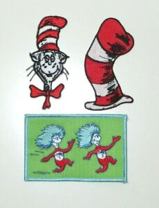 Dr. Seuss THE CAT IN THE HAT Collector Patch Set of 3 Iron On Patches
