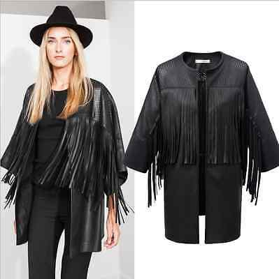 Trendy Hollow Faux Leather Tassels Fringed Cardigan Cloak Cape Jacket Coat Tops