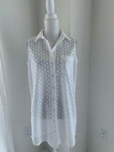 Equipment-Femme-White-Cotton-Eyelet-Sleeveless-Tunic-Shirt-SZ-L