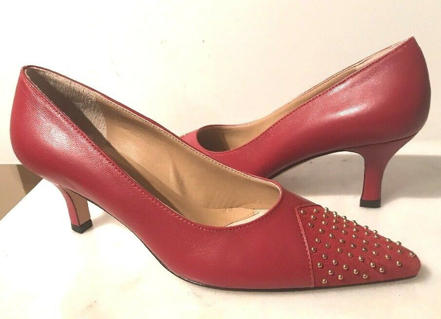 VANELI VAN ELI LIUBA WOMEN RED LEATHER POINTED TOE PUMP HEEL SHOES 6.5 NEW