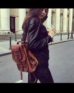 Vintage-Genuine-Goat-Leather-Rucksack-Backpack-Luggage-Hiking-Camping-Travel-Bag