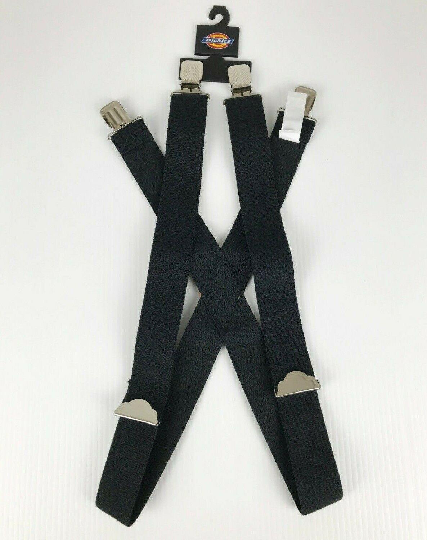 Dickies X Back Adjustable Clip On Work Suspenders, Black