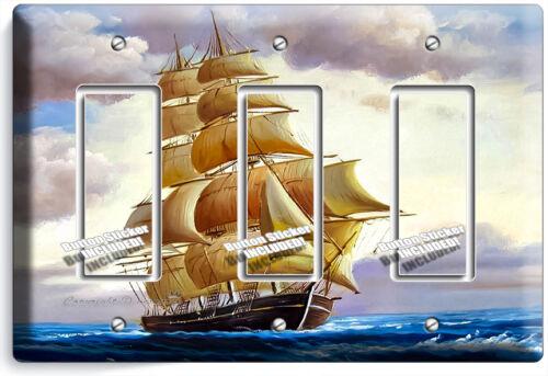 SEA SAILING SAILBOAT SHIP NAUTICAL TRIPLE GFI LIGHT SWITCH WALL PLATE ROOM DECOR
