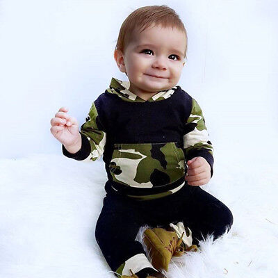 2PCS SET Newborn Baby Girl boy Shirt Hoodie Pants Infant Clothes outfit Camo INS