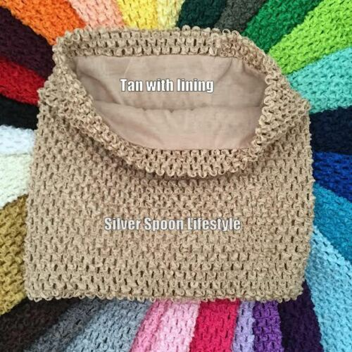 "Tan Crochet Tutu Tube Top 6/"" 8/"" 12/"" Unlined /& Lined USA Seller 10/"" 9/"""