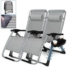 Set of 2 Heavy Duty Zero Gravity Chairs Recliners Support to 400lbs w/Cup Holder